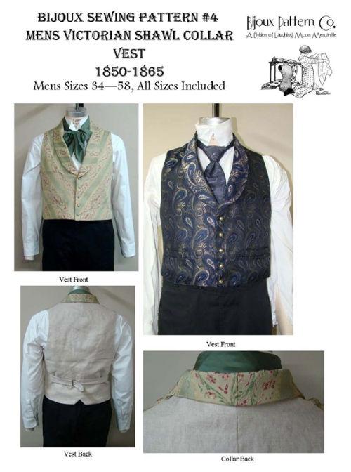 Men\'s Victorian Shawl Collar Vest 1850-1865 Sewing Pattern #4 ...