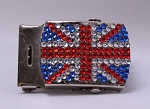 Union Jack British Flag Rhinestone-Look Military Style Closure Belt Buckle for 1