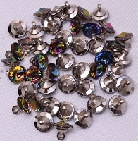 1000 Count Bag -  Aurora Borealis Jeweled Crystal-Like Iridescent 11mm Charm Buttons (DB-70701)