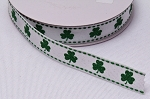 Shamrock Grosgrain Ribbon -  Saint Patrick's Day Green Glitter Clovers Shamrocks on White 5/8