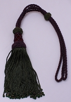 Drapery Tiebacks Purple Braided Cord Curtain Tie Back with Green Tassels and Beads (M423.05)