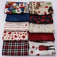 10 Fat Quarters - Canadian Classics O Canada Mounties Mounty Moose Maple Leaves Stonehenge Northcott Sesquicentennial Fat Quarter Bundle M491.03