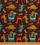 Cotton Dinosaurs Dinos T-Rex Jurassic Prehistoric Animals Dog Bones Stripes Dino Dudes Kids Baby Babies Cotton Fabric Print by the Yard (CX4430-BROW-D)