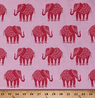Cotton Elephant Decorated Indian Elephants African Animals Jungle India Madhuri Pink Cotton Fabric Print by the Yard (C3352-PINK)