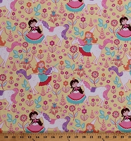 Cotton Unicorns Princess Princesses Allover Flowers Floral Girls Kids Yellow Cotton Fabric Print by the Yard (CX6562-YELL-D)