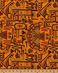 African Prints Symbols Shapes Orange Poly/Cotton Fabric by the Yard (3660G-6J)