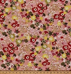 Cotton Hello Luscious Floral Flowers on Pink Cotton Fabric Print by the Yard (30283-12)