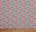 Cotton Typewriter Numbers Circles Pastel Color Keys Cotton Fabric Print by the Yard (DC6128--MULT-D)