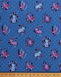Organic Cotton Turtles Chipmunks Rabbits Bunny Bunnies Frogs Birds Forest Animals Picnic Pals Blue Cotton Fabric Print by the Yard (Y1001-31)