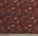 Cotton Lions Tigers Leopards Big Cats Animals African Wildlife on Brown Jungleland Cotton Fabric Print by the Yard (1533-1)