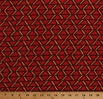 Cotton African Print Red Gold Triangles Geometric Go for the Burn Cotton Fabric Print by the Yard (44028-383W)