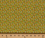 Cotton Trick or Treat Candy Corn Halloween Candy Candies on Green Cotton Fabric Print by the Yard (4907-73)