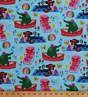Cotton Animals Summertime Fun Summer Activities Sunbathing Swimming Pool Cute Monkeys Elephants Butterflies Flowers Kids Aqua Cotton Fabric Print by the Yard (FUN-C2458-AQUA)