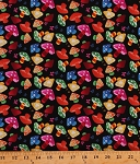 Cotton Rainbow Mushrooms Colorful Toadstools Fungus Fungi Butterflies Butterfly Flowers Floral Stars Hearts Kids Girls Black Cotton Fabric Print by the Yard (2716-200)