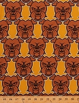 Cotton Bulldogs Angry Dogs Puppies Canines Animals Pets Gold Douglas Day Rebel Cotton Fabric Print by the Yard (BA15-GOLD)