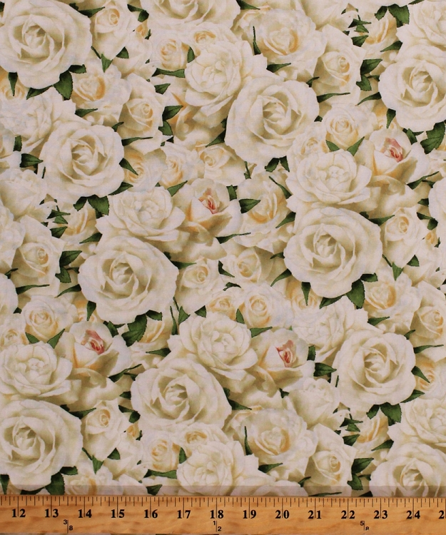 Cotton white roses flowers floral rose botanical garden bed of roses cotton white roses flowers floral rose botanical garden bed of roses cotton fabric print by the yard 1668 99126 157 mightylinksfo