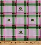 Cotton John Deere Tonal Logo Plaid Logos Pink and Green Plaid Cotton Fabric Print by the Yard (41783-C470715)