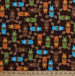 Cotton Moose Blue Green Orange Brown Animals Wildlife Camping Woodland Pals Kids Childrens Cotton Fabric Print by the Yard (AAK-13766-237-BERMUDA)