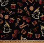 Cotton Musical Instruments Violins Drums Trumpets Accordions Sousaphones Banjos Music Musicians Black Cotton Fabric Print by the Yard (DC4228-BLAC-D)
