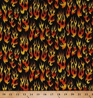 Cotton Flames Fire Hot Rod Flames Flaming Firefighting Firefighters Monster Truck Madness Black Cotton Fabric Print by the Yard (20224-99-BLACK)