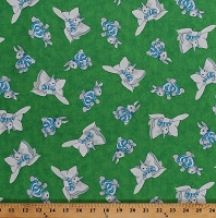 Cotton Bunny Bunnies Beds Bedtime Goodnight Bunny Kids Animals Green Cotton Fabric Print by the Yard (1649-22241-G)