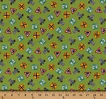 Cotton Choo Choo You Railroad Crossing Signs Trains Cotton Fabric Print by the Yard (Y0798-21-green)