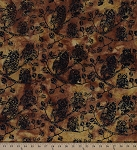 Cotton Batik Thanksgiving Owls Trees Leaves Branches Cotton Fabric Print by the Yard (k-2456-605)