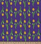 Cotton Bright Yellow Tulips Flowers on Purple Polka Dots Veranda Garden Cotton Fabric Print by the Yard (aam-11486-238)