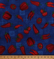 Cotton Red Peppers Tomatoes Chili Peppers Vegetables Veggies Hot Spicy Food Cooking Mexican Esperanza on Blue Cotton Fabric Print by the Yard (ARP-13402-4BLUE)