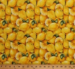 Cotton Lemons Lemon Slices Citrus Fruits Food Farmer John's Market Yellow Cotton Fabric Print by the Yard (120-8171)