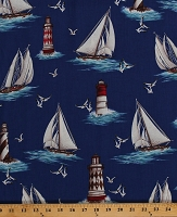 Cotton Lighthouses Sailboats Boats Nautical Sailing Seagulls Ocean Summer By the Sea Blue Cotton Fabric Print by the Yard (04611-55)