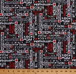 Cotton New York City NYC Manhattan Red White Words on Black The Big Apple Cotton Fabric Print by the Yard (05852-10)