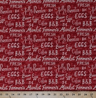 Cotton Farmer's Market Food Words on Red Barn Wood Country Cotton Fabric Print by the Yard (44010-331W)