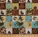 Cotton Plants Leaves Branches Trees Squares French Script Nature Botany Forest Walk Cotton Fabric Print by the Yard (1409-86293-227W)