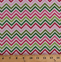 Cotton Pink and Green Chevrons Chevron Stripes on White Striped Zig-zags Zigzag Remix Girls Cotton Fabric Print by the Yard (AAK-10394-238-GARDEN)