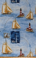 Cotton Sailboats Boats Ships Lighthouses Nautical Seashore Harbor Point Blue Cotton Fabric Print by the Yard (112-27451)