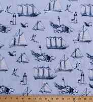 Cotton Tall Ships Sailboats Lighthouses Seagulls Nautical Beach Ocean Sea Blue Cotton Fabric Print by the Yard (AHS-70060-266-NAUTICAL)