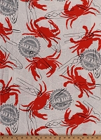 Cotton Crab Bake Crabs Allover Newsprint Newspapers Pliers Seafood Kitchen Cream Cotton Fabric Print by the Yard (CX5884-CREM-D)