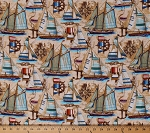 Cotton Sailboats Sailors Knots Compass Vintage Boats Anchors Nautical Bayshore Collection Tan Cotton Fabric Print by the Yard (EOC-1323-200-VINTAGE)