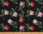 Cotton Tulips Flowers on Black Chalkboard Floral Fancy Font Words Spring Garden View Cotton Fabric Print by the Yard (1409-86330-978)
