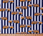 Cotton Fire Trucks Yellow Firetrucks Emergency Vehicles on Blue White Stripes Transportation Fire Station Cotton Fabric Print by the Yard (AGE-13019-5YELLOW)