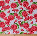 Cotton Watermelons Watermelon Slices Fruits Summer Food Mad for Melon White Cotton Fabric Print by the Yard (06323-09)