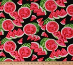 Cotton Watermelons Watermelon Slices Fruits Summer Food Picnic Mad for Melon on Black Cotton Fabric Print by the Yard (06323-12)