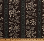Cotton Jo Morton Charleston Floral Flowers Plants Wide Stripes Brown Civil War Reproduction Historical Cotton Fabric Print by the Yard (A-7469-TN)