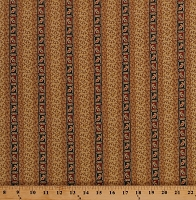 Cotton Jo Morton Caswell County Paisley Stripes Dots Dashes Civil War Reproduction Historical Tan Cotton Fabric Print by the Yard (A-7679-TN)