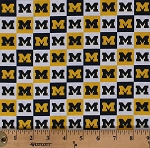 Cotton University of Michigan Wolverines U of M Logos Squares College Sports Team NCAA Digital Print Cotton Fabric Print by the Yard (MCHG-1158)