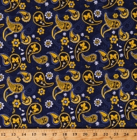 Cotton University of Michigan Paisleys Flowers Floral U of M Wolverines Logos College Sports Team Blue Cotton Fabric Print by the Yard (MCHG1200)