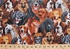 Cotton Playful Dogs Puppies Breeds Saint Bernards Beagles Golden Retrievers Poodles Bulldogs Collies Rottweilers German Shepherds Labrador Retrievers Labs Packed Cotton Fabric Print by the Yard (michael-1380)