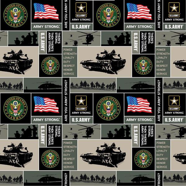 United States Of America Army Fleece Fabric Print By The