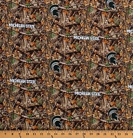 Cotton Michigan State University Realtree MSU Spartans Logos on Camouflage Camo College Sports Team NCAA Digital Print Cotton Fabric Print by the Yard (MIST1163)